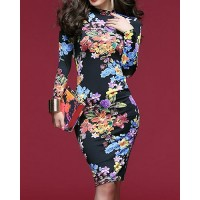 Sexy Women's Stand Collar Floral Print Backless Long Sleeve Dress
