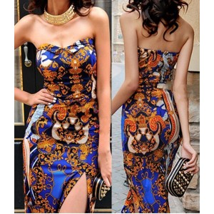Sexy Women's Strapless Floral Print Slimming Dress