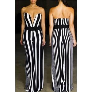 Sexy Women's Strapless Striped Wide-Leg Jumpsuit