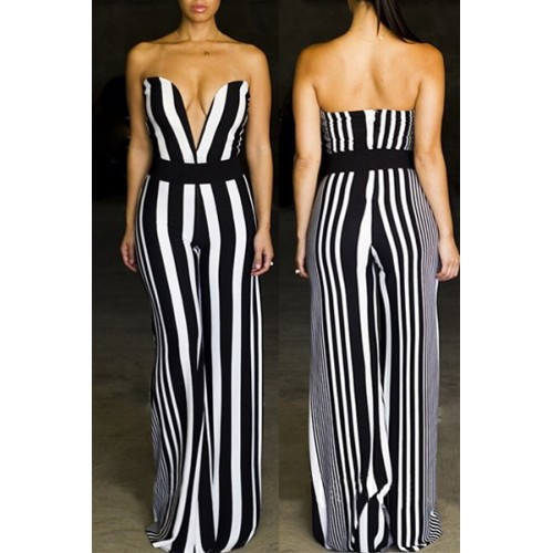Sexy Women s Strapless Striped Wide-Leg Jumpsuit (Sexy Women s ...