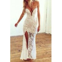 Sexy Women's Strapless White Lace Ankle-Length Dress white