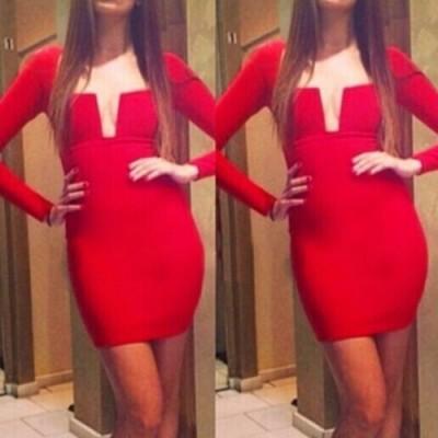 Sexy Women's U Neck Long Sleeve Bodycon Dress red black white