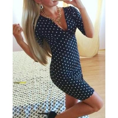 Sexy Women's V-Neck Polka Dot 1/2 Sleeve Dress blue