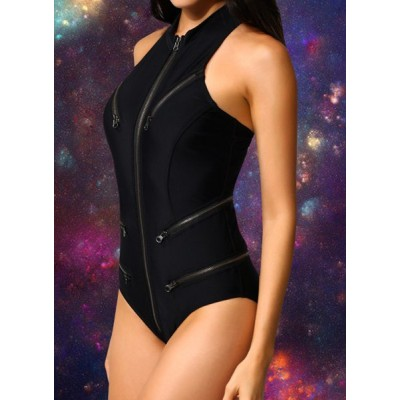 Sexy Women's Zippered Round Neck One-Piece Swimsuit black