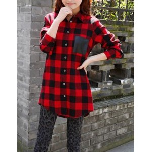 Shirt Collar Long Sleeves Plaid Pocket Splicing Stylish Blouse For Women red black