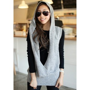 Simple Design Women's Solid Color Sleeveless Hooded Sweater gray
