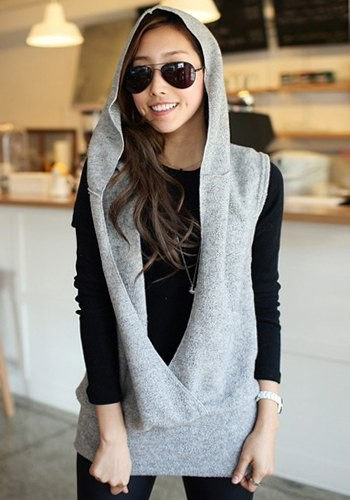 Simple Design Women s Solid Color Sleeveless Hooded Sweater gray ...