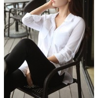 Simple Shirt Collar Long Sleeve Solid Color Furcal Shirt For Women white purple