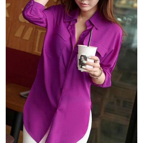 Simple Shirt Collar Long Sleeve Solid Color Furcal Shirt For Women ...