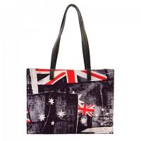 Simple Women's Shoulder Bag With Color Block and Canvas Design black blue