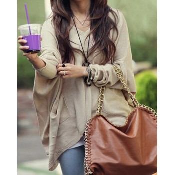 Solid Color Batwing Sleeve Stylish V-Neck Women's Cardigan blue apricot