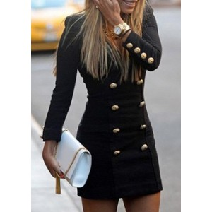 Solid Color Double-Breasted Fashionable Round Neck Long Sleeve Women's Dress