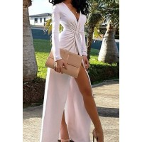 Solid Color Furcal Fashionable V-Neck Long Sleeve Women's Maxi Dress white