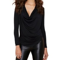 Solid Color Trendy Style Plunging Neck Long Sleeve Women's T-Shirt black
