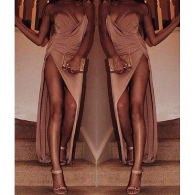 Spaghetti Strap Solid Color Backless Slit Sexy Long Dress For Women
