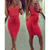 Strapless Solid Color Lacing Stylish Dress For Women red