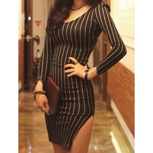 Striped Bodycon Stylish V-Neck Long Sleeve Women's Dress black