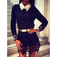 Stylish Flat Collar Long Sleeve Spliced Asymmetrical Dress For Women black