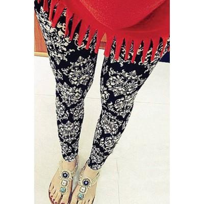 Stylish Mid-Waisted Elastic Waist Printed Skinny Slimming Stretchy Leggings For Women black white