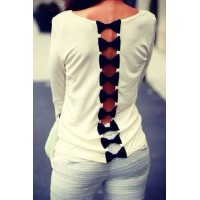 Stylish Round Neck Long Sleeve Bowknot Patchwork Hollow Out T-Shirt For Women white