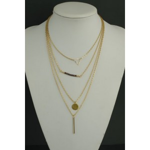 Stylish Solid Color Pendant Layered Women's Necklace gold