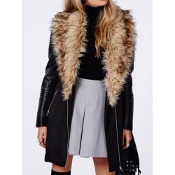 Stylish Turn-Down Collar Long Sleeve Zipper Design Spliced Coat For Women black