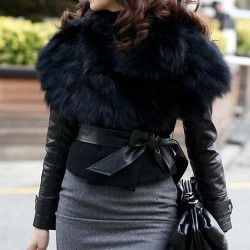 Stylish Turn-Down Collar Sleeveless With Belt Waistcoat For Women black