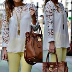 Stylish Women's Jewel Neck Lace Splicing Long Sleeve Chiffon Blouse yellow black blue white