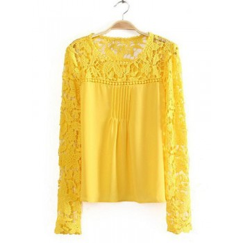 Stylish Women's Jewel Neck Lace Splicing Long Sleeve Chiffon Blouse yellow black blue white
