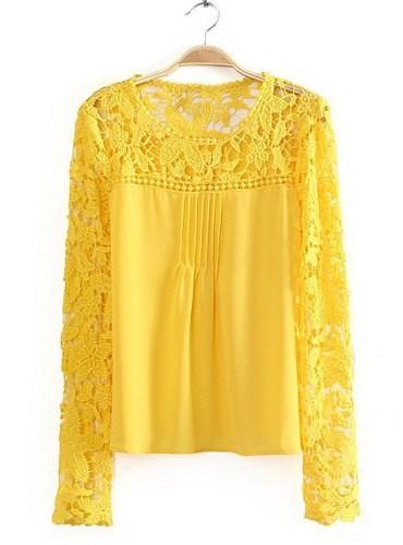 Stylish Women S Jewel Neck Lace Splicing Long Sleeve