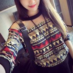 Stylish Women's Jewel Neck Long Sleeve Mesh Splicing Geometric T-Shirt