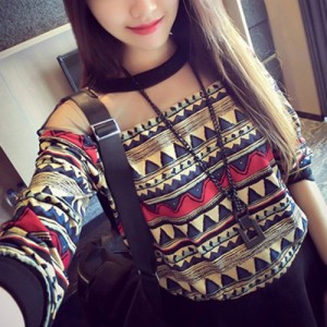 Stylish Women's Jewel Neck Long Sleeve Mesh Splicing Geometric T-Shirt