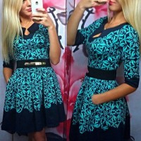 Stylish Women's Round Collar Floral Print Half Sleeve Dress blue