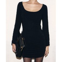 Stylish Women's Scoop Neck Solid Color Bodycon Dress black