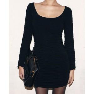 Stylish Women's Scoop Neck Solid Color Bodycon Dress black