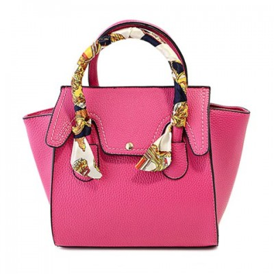 Stylish Women's Tote Bag With Rivets and Scarves Design rose black blue green