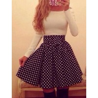 Sweet Women's Boat Neck Elastic Waist Polka Dot Long Sleeve Dress