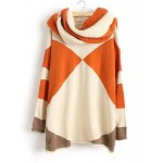 Trendy Style Scoop Collar Long Sleeve Color Block with Scarf Sweater For Women orange black blue green