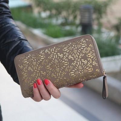 Trendy Women's Clutch Wallet With Openwork and Zip Design khaki