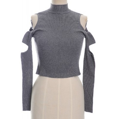 Turtleneck Off-The-Shoulder Hollow Out Solid Color Stylish Short Sweater For Women gray