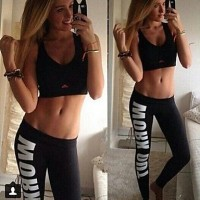 Women's Cotton Pencil Fitness Work out Statement Blogger Alphabet Print Sports Leggings black
