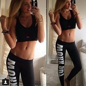 Women's Cotton Pencil Fitness Work out Statement Blogger Alphabet Print Sports Leggings black