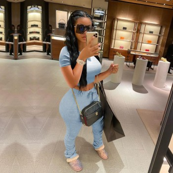 Tracksuits Women Two Piece Set Short Sleeve Shirt Crop Top + Flare Pants Casual Stacked Joggers Bell Bottom Pants Matching Suits