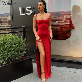 Nibber red black New year christmas party long dresses women 2020 spring new bodycon lace up stretch Slim Soft midi dress femme
