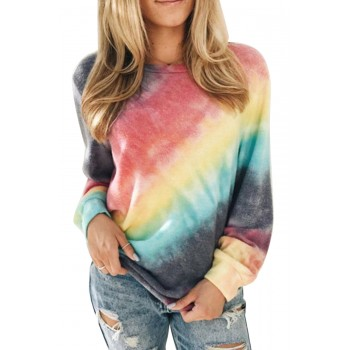 Ombre Red Tie-dye Sweatshirt Blue Gray