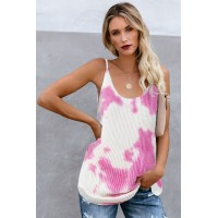 Sky Blue Tie Dye Print Knit Tank Top Green Pink