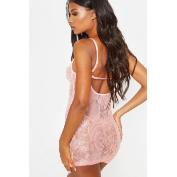Baby Pink Lace Lingerie Slip Dress Black