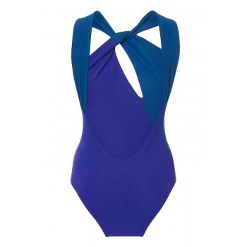 Blue Colorblock Splicing One-piece Swimwear