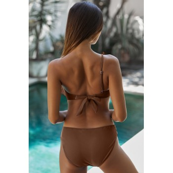 Black One Shoulder Swimsuit with Ruffles Brown Blue
