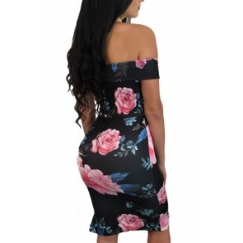 Dark Floral Lace-up Detail Off Shoulder Sheath Dress